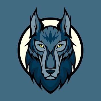 Vector illustration of wolf head in front - vector #128889 gratis