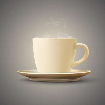 Vector illustration of coffee cup with plate - Free vector #128899