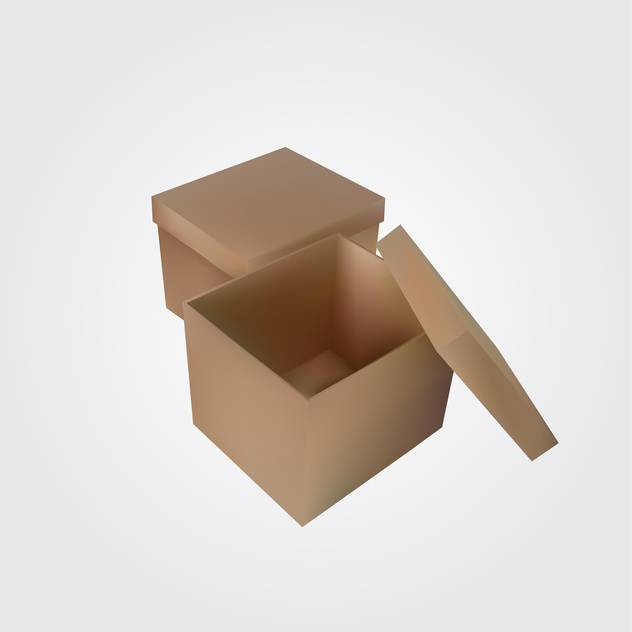 Vector illustration of brown open empty box on white background - Free vector #128939