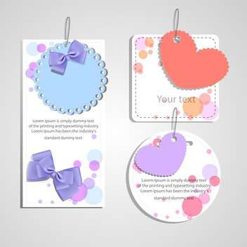 set of gift cards with hearts and bows - vector #129129 gratis