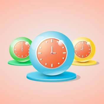set of colorful vector clocks - бесплатный vector #129139
