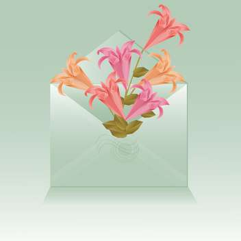 open envelope with origami flowers - Free vector #129199
