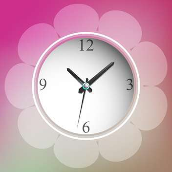 vector illustration of floral clock - vector #129239 gratis