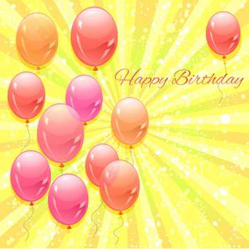 happy birthday card with vector balloons - vector gratuit #129249