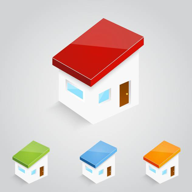 Vector set of colorful houses icons - vector gratuit #129289