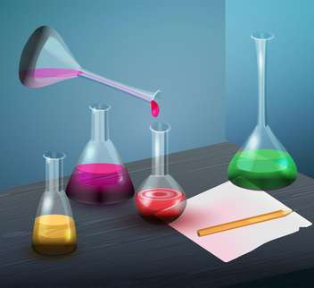 Vector illustration of laboratory flasks with colorful liquid - vector gratuit #129329