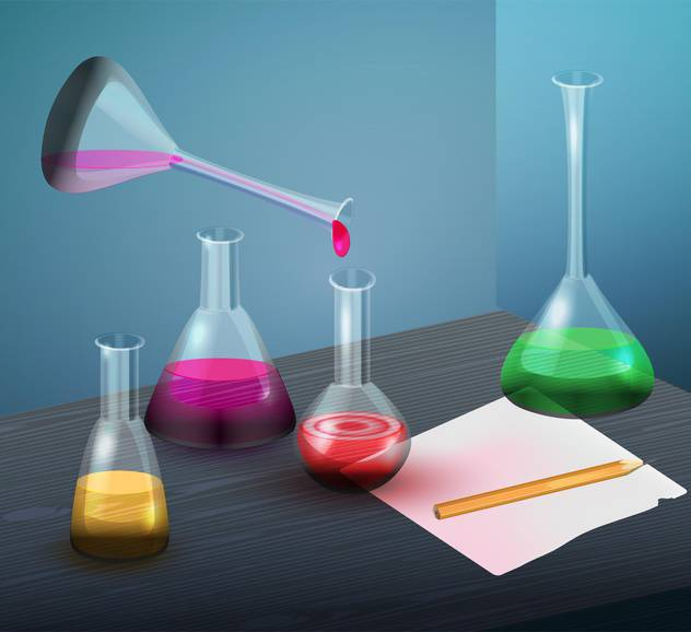 Vector illustration of laboratory flasks with colorful liquid - Free vector #129329