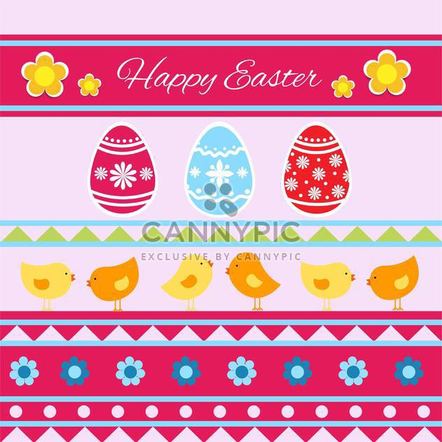 Vector Happy Easter greeting card with eggs and birds - Free vector #129349