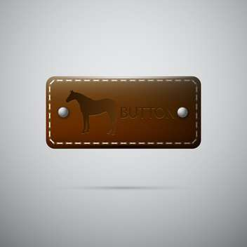 Vector leather button with horse on gray background - vector gratuit #129409