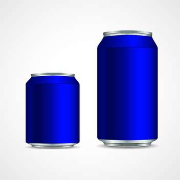 Two blue aluminium cans on white background - Kostenloses vector #129419
