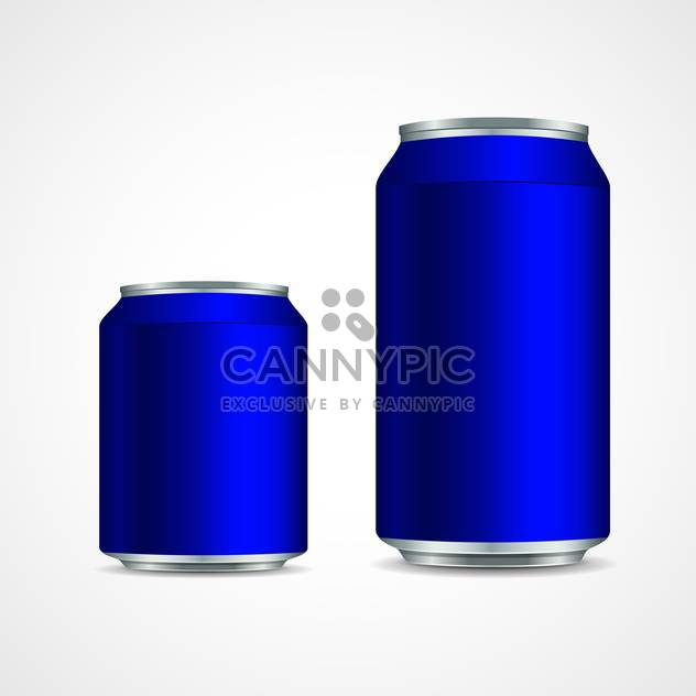 Two blue aluminium cans on white background - Free vector #129419