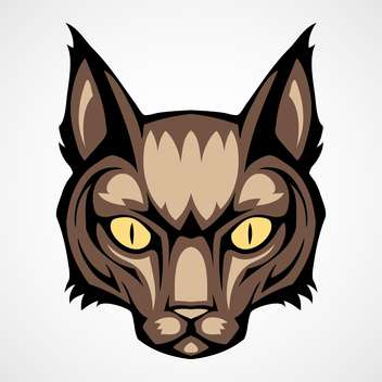 Vector illustration of brown cat head on white background - vector gratuit #129439