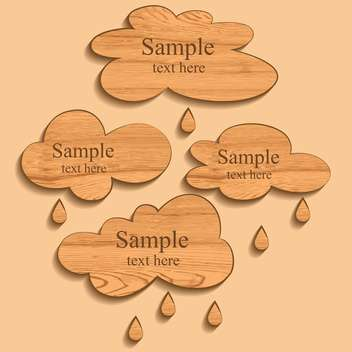 Vector wooden clouds with rain drops - vector gratuit #129449