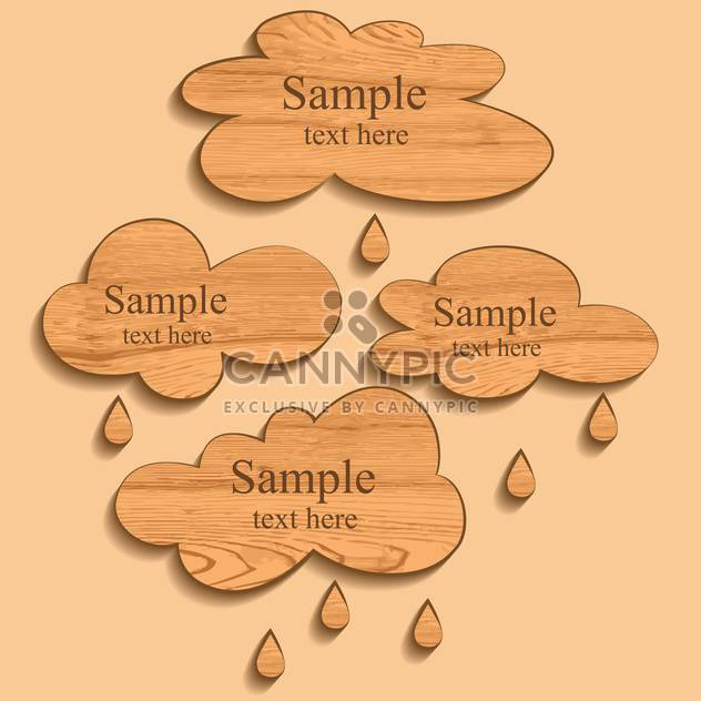 Vector wooden clouds with rain drops - Kostenloses vector #129449