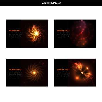 Vector set of abstract black backgrounds with flame - vector gratuit #129509