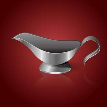 Vector illustration of silver sauce-boat on red background - Free vector #129519