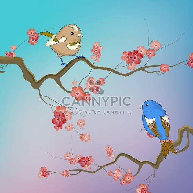 Vector illustration of birds sitting on branches with spring flowers - Free vector #129529