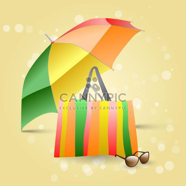 Vector illustration of beach colorful umbrella, bag and sunglasses on yellow background - Free vector #129539