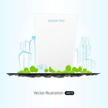 Vector illustration of sketch architectural buildings with trees and frame - бесплатный vector #129599