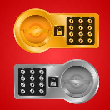 Vector illustration of bank safe cells for storage of values on red background - vector gratuit #129619