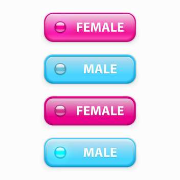 Vector set of male and female glossy buttons isolated on white background - vector gratuit #129629