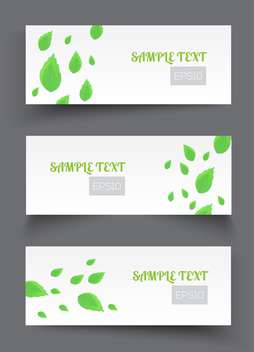 Vector set of white banners with green leaves - Free vector #129639