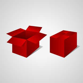 Vector illustration of open and closed red boxes on gray background - Free vector #129649