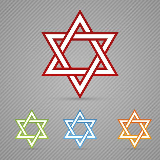 Vector set of colorful David Jewish stars on gray background - vector gratuit #129679