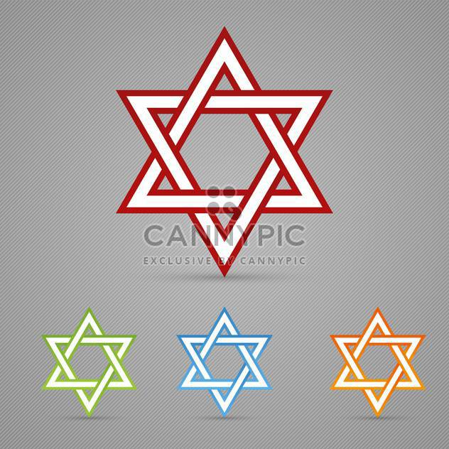 Vector set of colorful David Jewish stars on gray background - Free vector #129679