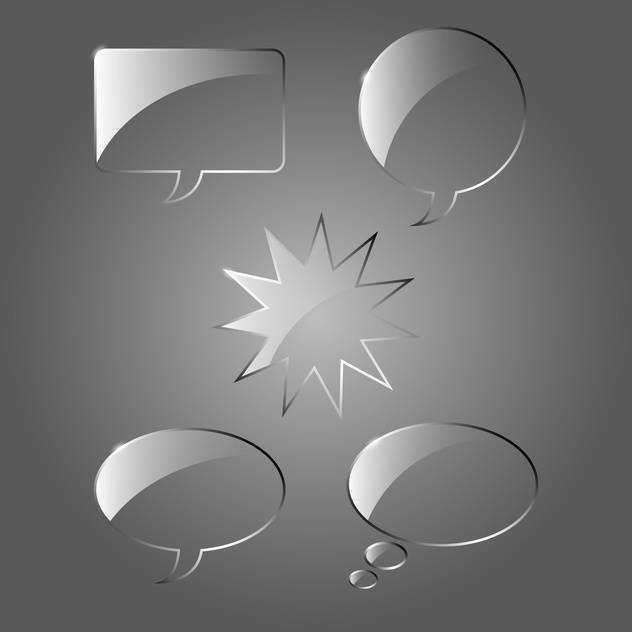 Vector set of realistic glass speech bubbles on gray background - Free vector #129689
