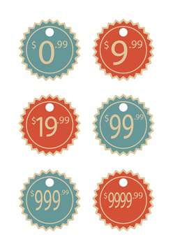 Vector set of vintage price labels isolated on white background - vector #129739 gratis
