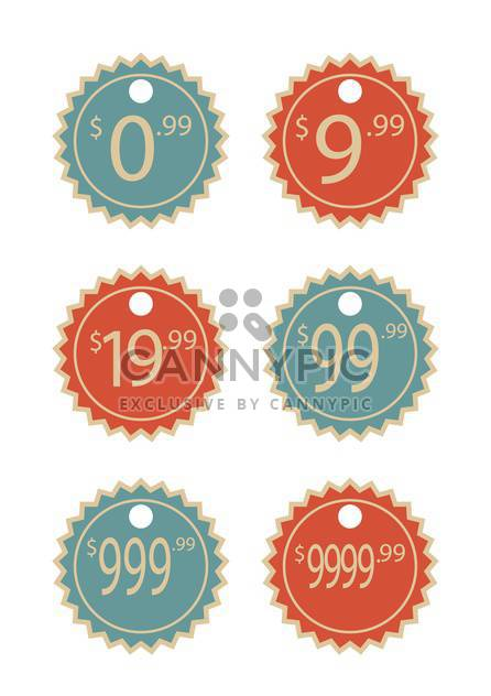 Vector set of vintage price labels isolated on white background - Free vector #129739