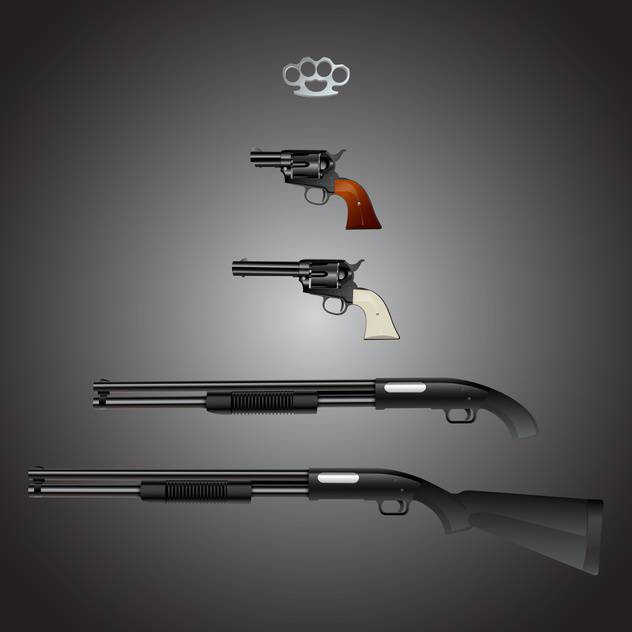 Vector set of weapons arsenal on gray background - vector gratuit #129769
