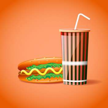 Vector illustration of plastic container with straw and hotdog on orange background - vector gratuit #129779