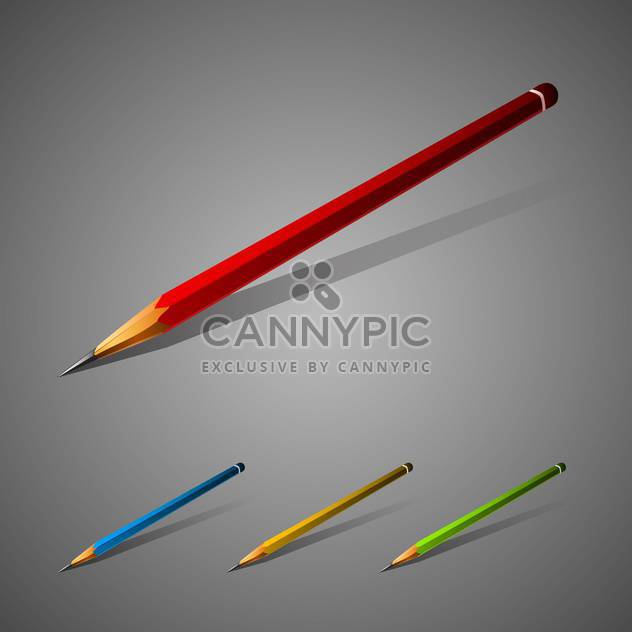 Set of vector colorful pencils on gray background - Free vector #129789