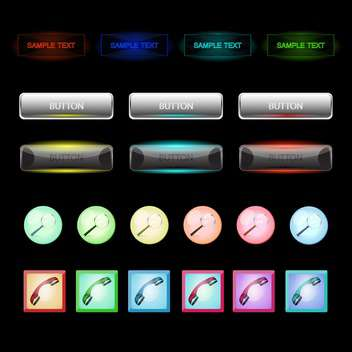 Vector set of colorful buttons on black background - Free vector #129799