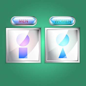 Vector male and female icons on green background - vector gratuit #129809