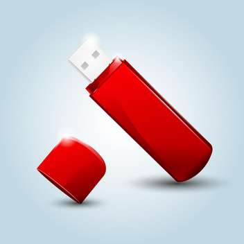 Vector illustration of red USB flash drive on blue background - vector gratuit #129849