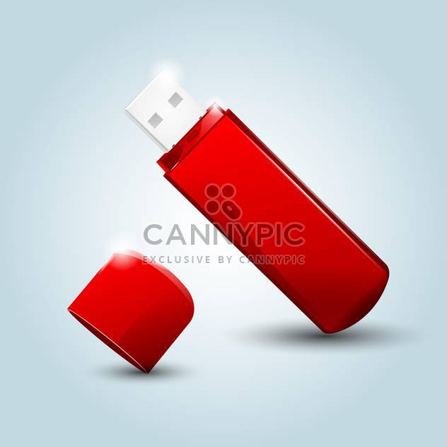 Vector illustration of red Usb flash drive on blue background - Free vector #129849