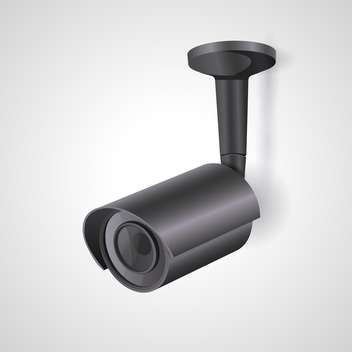 Vector illustration of a black surveillance camera isolated - vector gratuit #129939