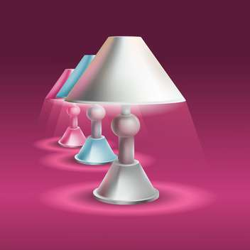 Set of table lamps on purple background - vector gratuit #129989