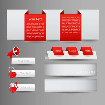 Vector set of red web elements with icons - vector gratuit #129999