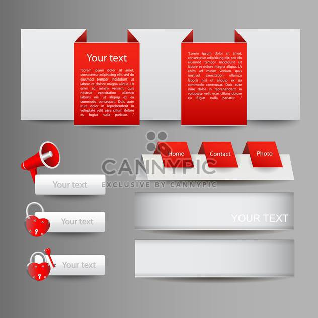 Vector set of red web elements with icons - Free vector #129999