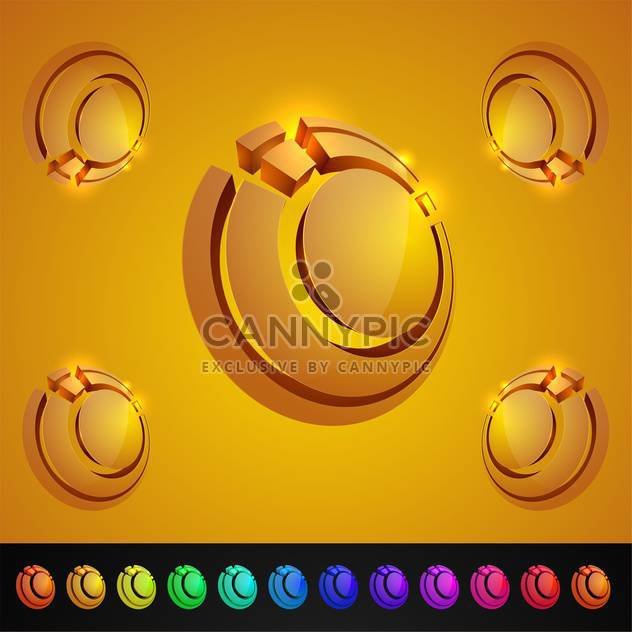vector set of abstract 3d glossy icons set - Free vector #130019