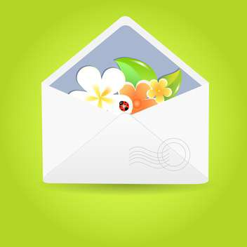 Vector illustration of envelope with flowers and ladybug - vector gratuit #130059