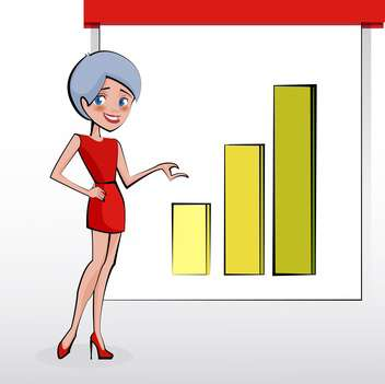 Beautiful business woman pointing to rising business trends - vector gratuit #130189