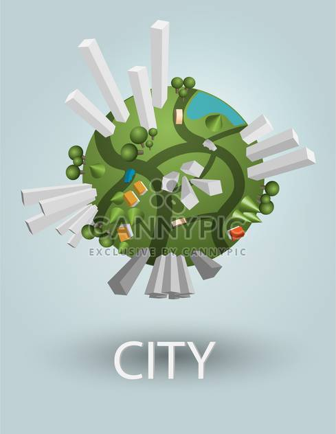 industrial globe elements with residential areas - Free vector #130489