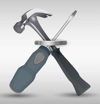 hammer and screwdriver vector illustration - vector gratuit #130499