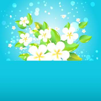 Greeting card with flowers on blue background and text place - бесплатный vector #130569