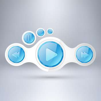 Media player elements on grey background - vector gratuit #130579